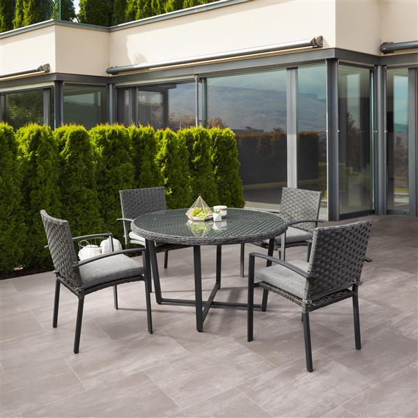 corliving rattan patio dining set grey cushions charcoal grey 5 pc