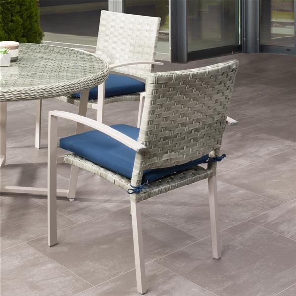 corliving rattan patio dining chairs grey blue cushions set of 4