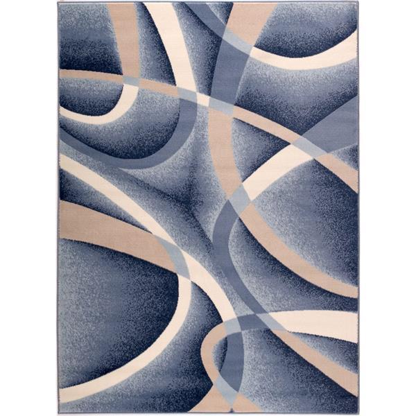 tapis abstrait geometrique anatolie 5 x 7 bleu beige