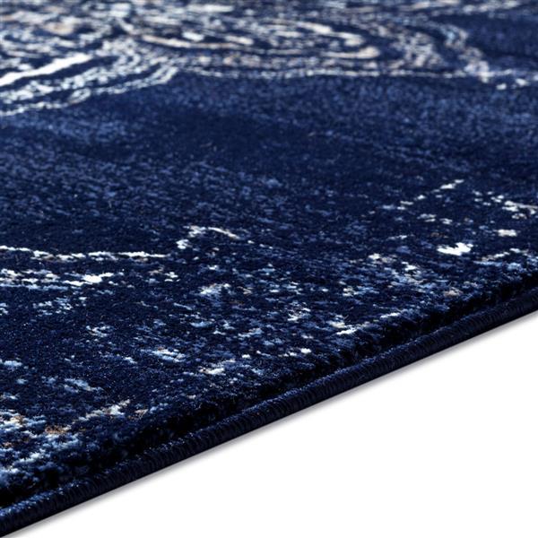 tapis retro europeen anatolie 7 x 9 bleu marine