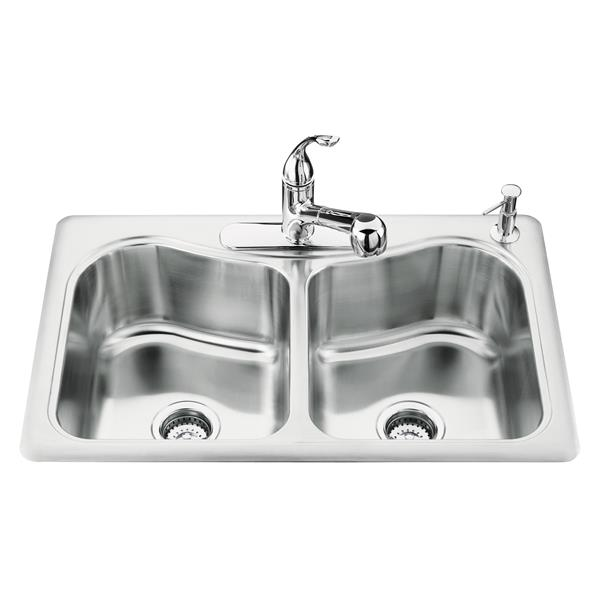 kohler staccato drop in double kitchen sink 33 in silver
