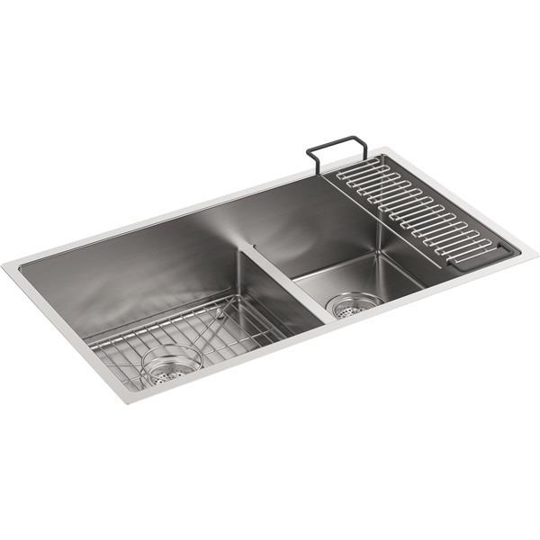 kohler strive undermount double kitchen sink 32 in silver