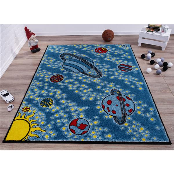 tapis pour enfants 6 2 x 9 2 polypropylene bleu jaune
