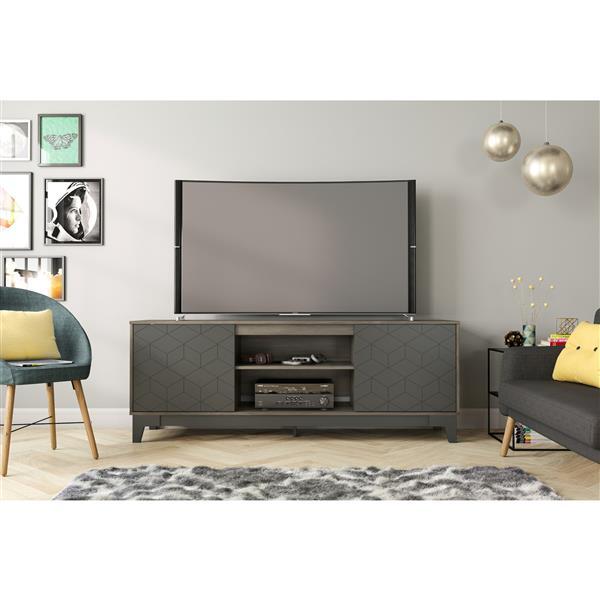 meuble tele hexagon 70 5 x 26 13 bois gris charbon