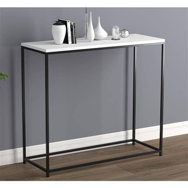 safdie co console table white black metal base 32 in l