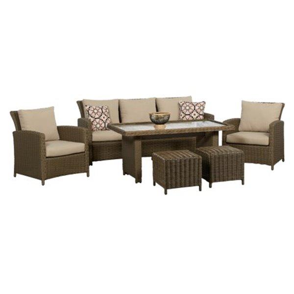 think patio oakmont high table conversation set tan 6 piece