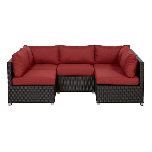 think patio innesbrook conversation set with cushions red 5 piece
