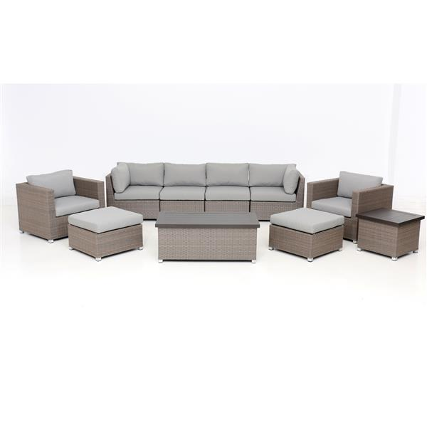 think patio chambers bay conversation set with cushions grey 10 piece
