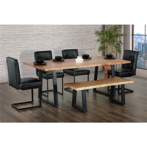 table salle a manger kiel bois d acacia metal noir 79