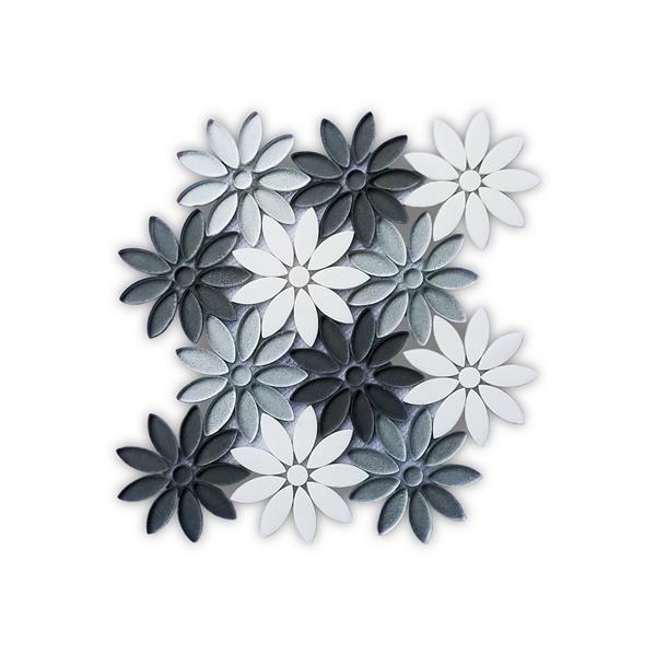 jl tile flower marble mosaic tile silver grey 5 box 10 in x 11 in