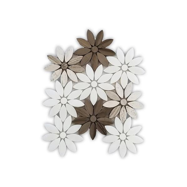 jl tile flower marble mosaic white and beige 5 box 9 5 in x 11 in