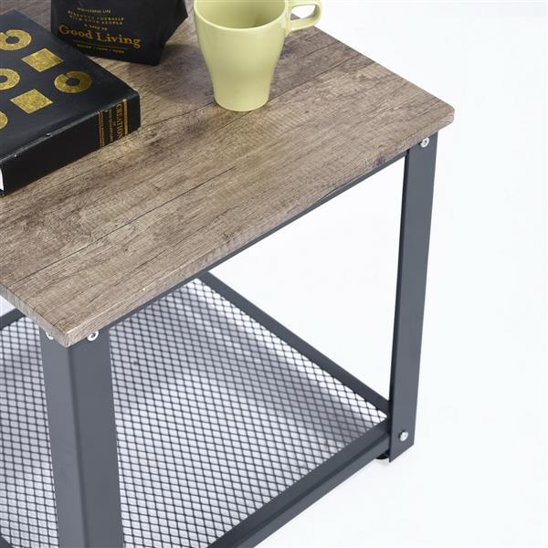 furniturer square coffee and end table black wood 18