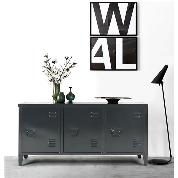 meuble de rangement en metal noir 47 2 po