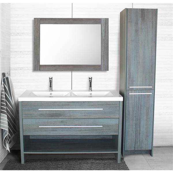 miroir de salle de bain relax 35 5 x 29 5 bleu gris