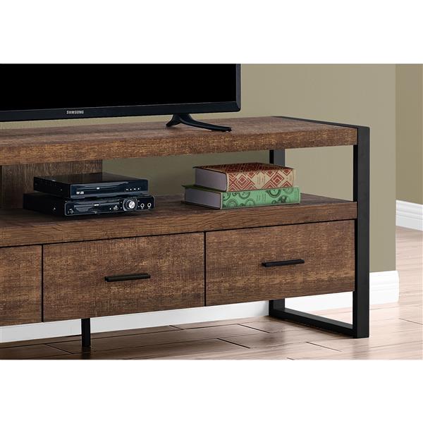 meuble tv monarch a 3 tiroirs imitation bois brun 60 po