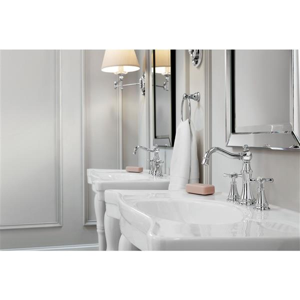 moen weymouth bathroom faucet two handle chrome valve sold separately