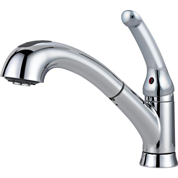 delta single handle kitchen pull out faucet chrome