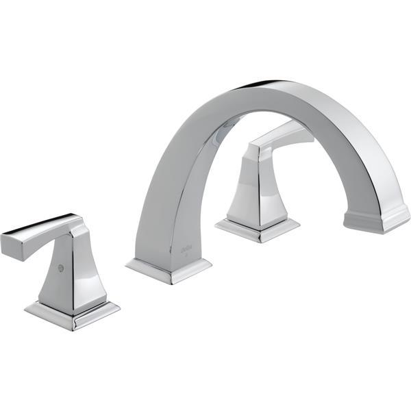 delta dryden deck mount roman tub faucet 9 in chrome
