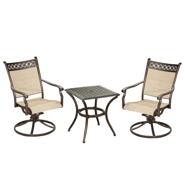 oakland living bali patio conversation set swivel rocking chairs with end table set of 3