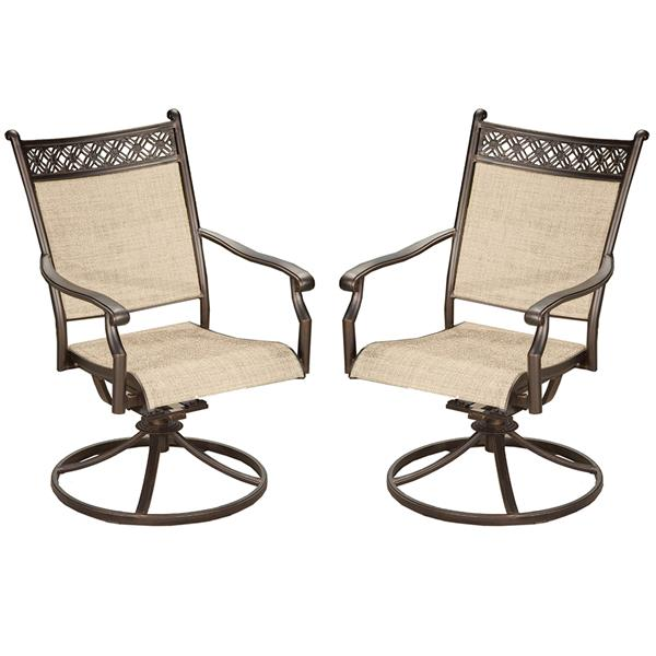 oakland living swivel patio chair 25 in x 38 in aluminum set of 2