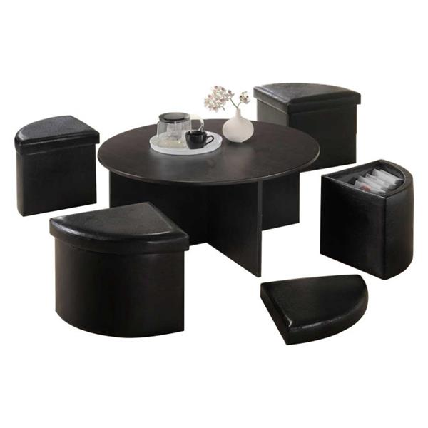 oakland living round coffee table set 4 storage stools brown set of 5