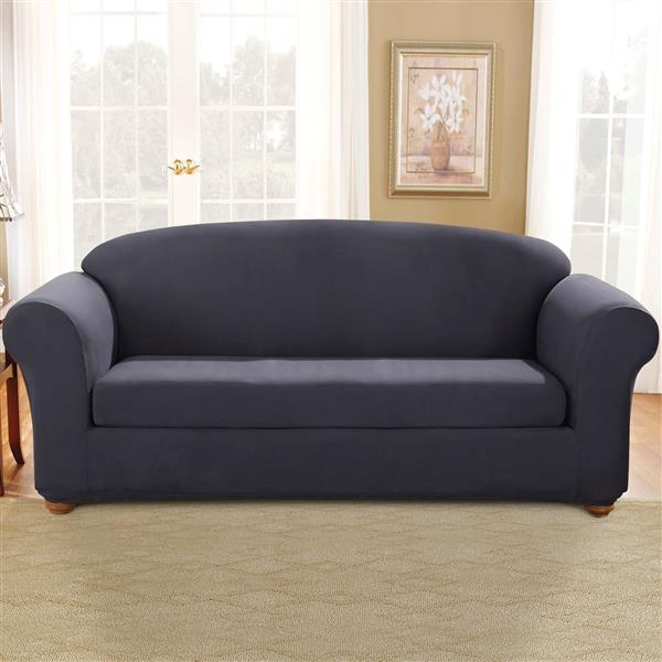 sure fit stretch suede sofa cover 96 in x 37 in storm blue