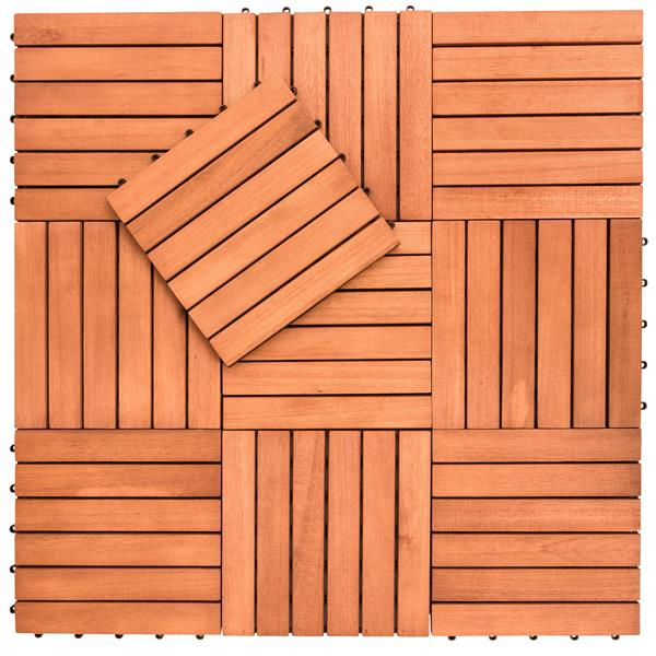 vifah patio 6 slat eucalyptus interlocking deck tile 12 in 10 pcs