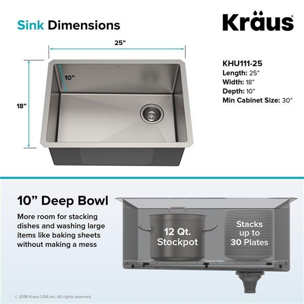 kraus standart pro undermount kitchen sink single bowl 25 in stainless steel