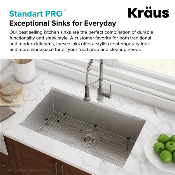 kraus standart pro undermount kitchen sink single bowl 28 in stainless steel