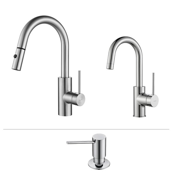 kraus pull down kitchen faucet bar faucet and soap dispenser chrome