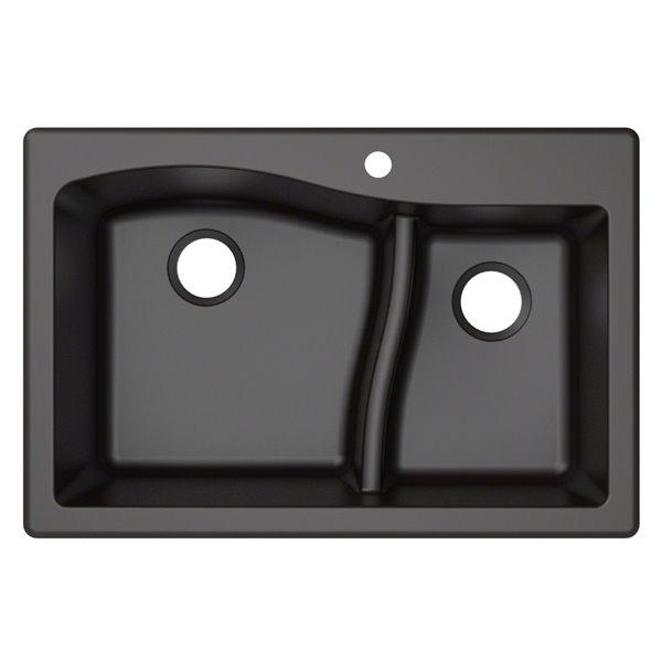 kraus quarza drop in undermount kitchen sink double offset bowl 33 in black