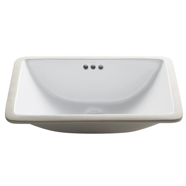 kraus elavo rectangular undermount bathroom sink 14 75 in white