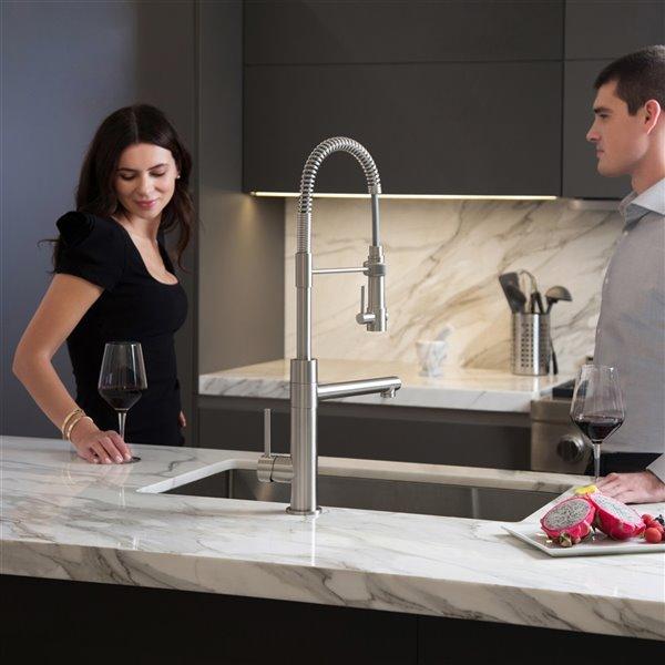 kraus artec pro pull down kitchen faucet single handle stainless steel matte black