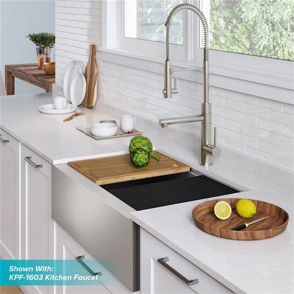kraus kore apron front farmhouse workstation kitchen sink single bowl 32 88 in stainless steel