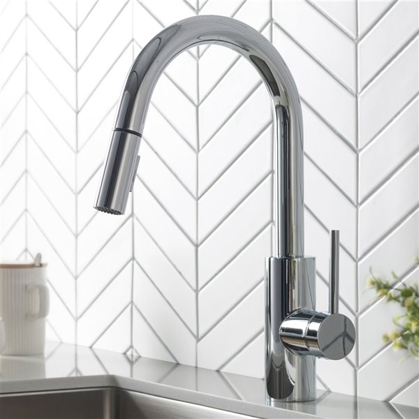 kraus oletto pull down kitchen faucet dual function single handle chrome