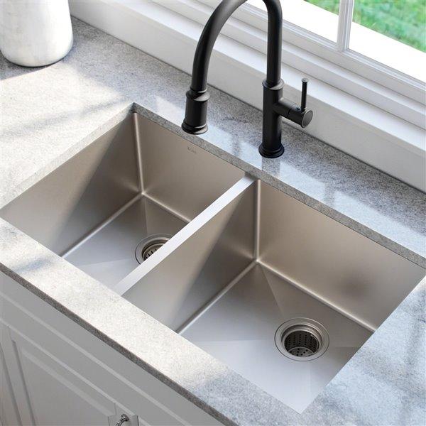kraus standart pro undermount kitchen sink double offset bowl 32 75 in stainless steel