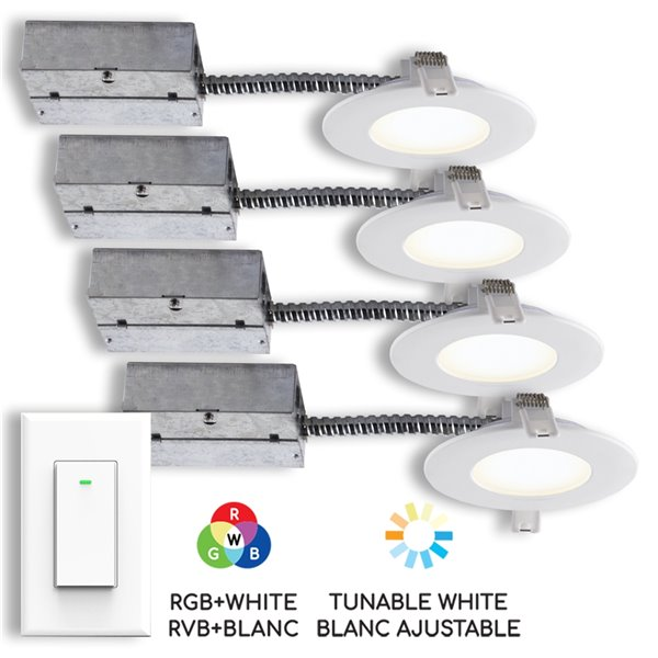 bazz smart wi fi led recessed lighting kit with wall light switch white set of 4