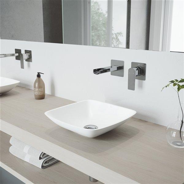lavabo de salle de bains blanc mat hyacinth de vigo robinet chrome 13 75 po