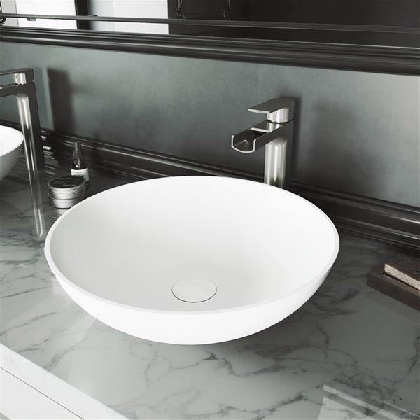 lavabo de salle de bains blanc mat lotus de vigo robinet nickel brosse 16 po
