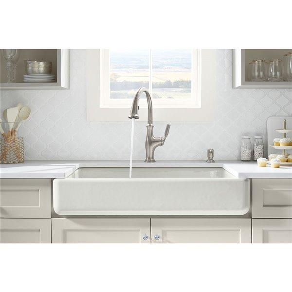 kohler smart divide undermount double bowl large mmedium farmhouse kitchen sink white 33 5 in