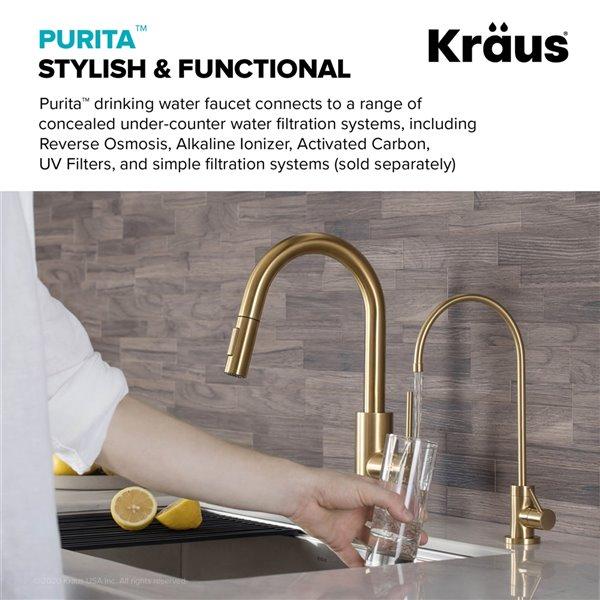 kraus purita drinking water dispenser beverage kitchen faucet brushed gold 12 in