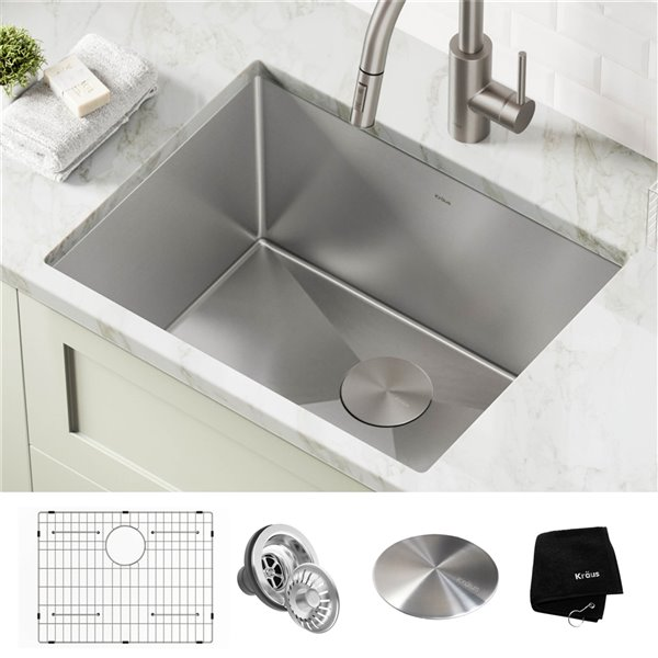 kraus single bowl kitchen laundry sink with drain 24 in x 18 5 in stainless steel