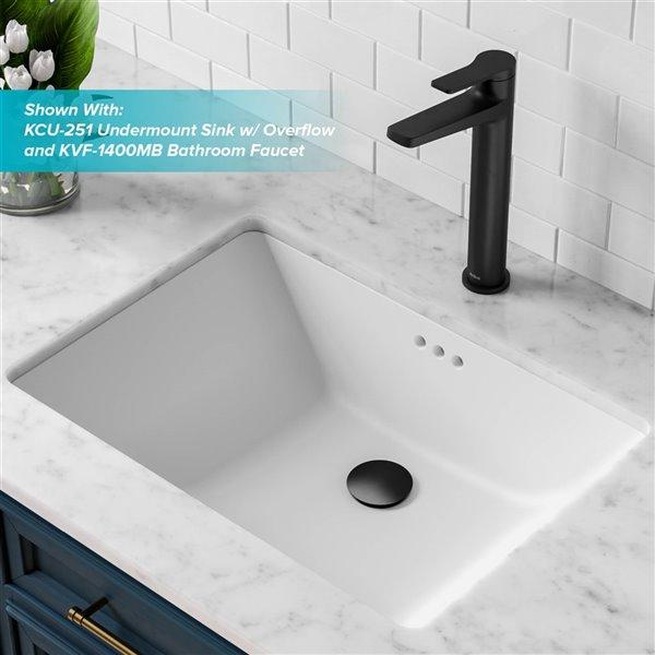 kraus matte black bathroom sink pop up drain