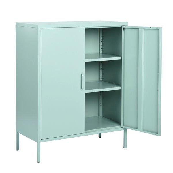 furniturer armoire de rangement moderne en metal a 2 portes d appoint vert 32 po x 40 po x 16 po