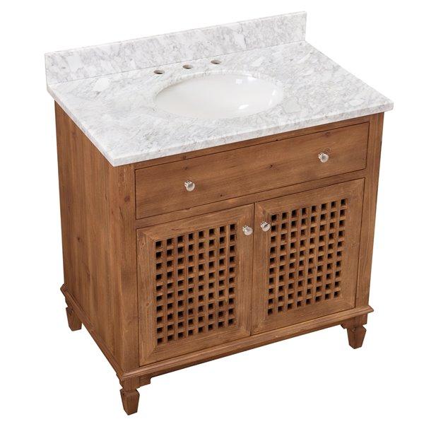 sunjoy brown single oval sink bathroom vanity set 2 door 1 drawer 36 in