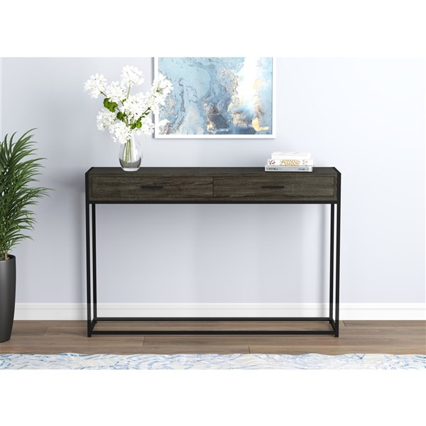 safdie co console table 2 drawers 48 in grey black