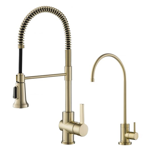 https www rona ca en kraus commercial kitchen faucet and water filter brushed gold 330743872