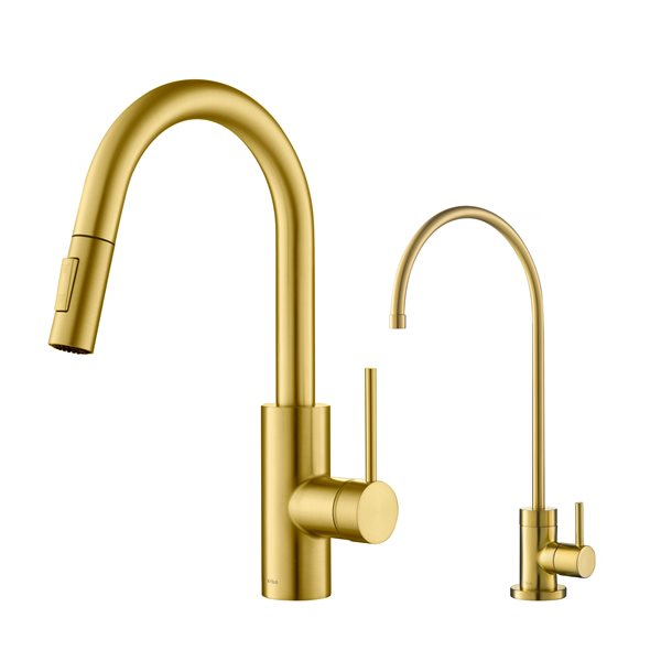 https www rona ca en kraus pull down kitchen faucet and water filter brushed brass 330743878