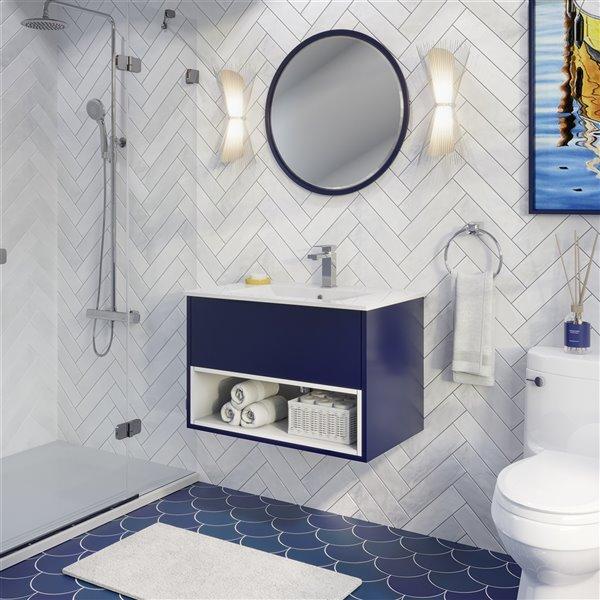 meuble lavabo simple midtown de ikou pour salle de bain au fini bleu marine 30 po