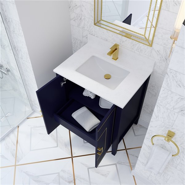 meuble lavabo simple hayden de ikou pour salle de bain bleu marine 30 po